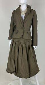 Max Mara Studio NWT 10 US 46 IT M Brown 2 Pc Skirt Suit Jacket Coat Runway Auth
