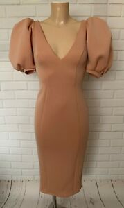 Blush Pink Puff Feature Sleeve Fitted Wiggle Pencil Office Shift Dress Size 4-12