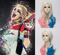 Hallowen Cosplay Wig Suicide Squad Harley Quinn 3 Tone Color Wave Curly Wigs