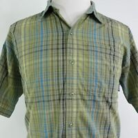 PATAGONIA SHORT SLEEVE GREEN PLAID BUTTON DOWN COTTON BLEND SHIRT MENS SIZE L