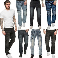 ETO Designer Mens Straight Leg Jeans Regular Fit Denim Blue Pants All Waist Size