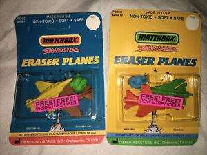 VTG Diener Matchbox Sky Busters Eraser Planes Series 1 & 2 New Sealed USA MADE