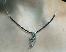 3ct faceted genuine black Diamond pave Diamond angel wing necklace pendant