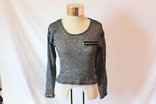 Women's Black/Silver Mesh Long-Sleeve Belly Shirt by Material Girl - Size S