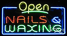 """New """"Open Nails & Waxing"""" 37x20 Real Neon Sign W/Custom Options 15412"""