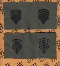Enlisted Specialist Sixth Class Spec-6 E-6 Od Green & Black rank patch set