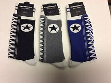 3 PAIRS MENS SNEAKER NOVELTY SOCKS * LIKE AN OLD FASHIONED SNEAKER *GRY/BRWN/BLU