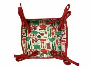 22cm, Reversible Fabric Bread Basket 100% Cotton DINNERTIME s Foldable Basket