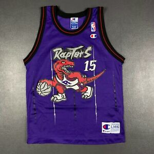 100% Authentic Vince Carter Vintage Raptors Jersey Size Youth Boys L 14-16