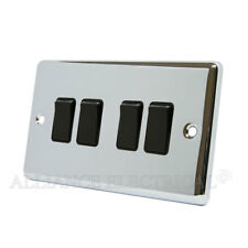 Polished Mirror Chrome Classical 4 Gang Switch -10 Amp Cpc4gswibl