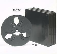 (3) 400' MOVIE PROJECTOR FILM REELS, CANS for SUPER 8 & REGULAR 8mm /w plug New!