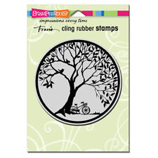 STAMPENDOUS RUBBER STAMPS CLING TREE CIRCLE NEW cling STAMP