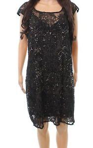 Kay Unger Black Gold Women's Size 18W Plus Lace Embellish Shift Dress $748- #299