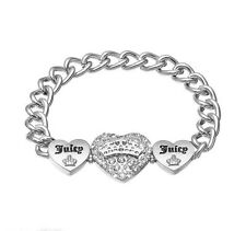 JUICY COUTURE silver tone simulated crystal 3 heart chain link bracelet