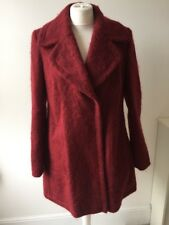 M&S Limeted Edition Maroon Red Wool Blend Felted Coat Sz 12