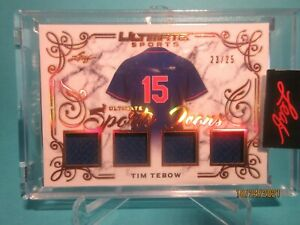 2021 LEAF ULTIMATE SPORTS ICONS QUAD JERSEY PATCH TIM TEBOW #23/25
