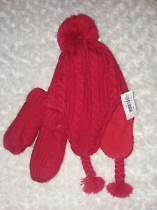 Old Navy Red Pom Pom Hat Mitten Set Cable Knit Sz Small Girls Nwt 18-24 Month 2T