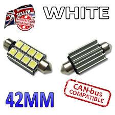 2 X 42mm Canbus Blanco LED Número De Matrícula Interior 42mm Bombillas Festoon 264 8 SMD