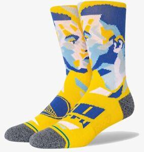 Stephen Curry Golden State Warriors Stance NBA Profiler Crew Socks L Mens 9-13