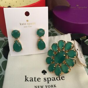 NWT Kate Spade Plaza Athenee Emerald Green Earrings And Cocktail Ring Size 6