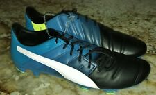 PUMA evoPower 1.3 Leather Black Blue White FG Soccer Cleats Boots NEW Mens 12 13
