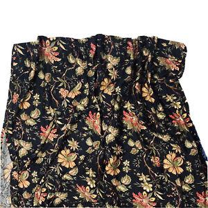 "1 Waverly Felicite Noir Black Curtain Drape Panel 80"" Jacobean Floral Print HTF"