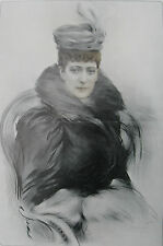 "1908 Large Antique Portrait- Queen Alexandra of England - ""The Queen of Charity"""