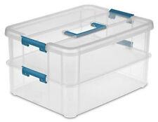 Stack and Carry 2-Layer Handle Box Blue Aquarium Plastic