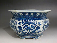 China Blue and white Porcelain Hexagon incense burner Hand painted Qianlong mark