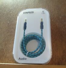 Staples Braided 3.5mm Auxiliary Audio Cable, 6 ft., Teal/Navy