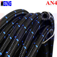 "AN4 -4AN  5.56/0.22"" (ID)  Stainless Steel Nylon Braided Oil Fuel Line Hose  5M"