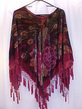 ARIS A. STUNNING RED, BLACK PEACOCK PONCHO/SHAWL LOADED WITH SPARKLY BEADS