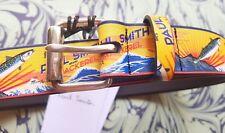 "Paul Smith Mens Leather Belt Mackerel Fish Print 36"" 94cm 2018 Season RRP £150"
