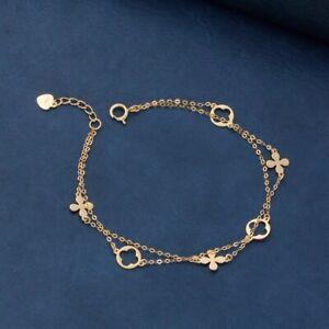 14k Gold Bracelet Flower Double Chain