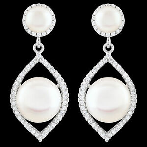 UNHEATED NATURAL 11MM FRESHWATER PEARL & WHITE CZ STERLING SILVER 925 EARRING