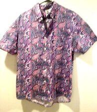 kennington mens button front shirt sz xl 100% cotton pink & purple swirls new