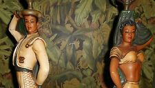 VINTAGE Matador & Spanish Dancer Plasterart Table Lamps Deco Hollywood Regency