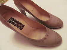 vtg Carina Nucci designer taupe beige pin up classic leather shoes 36.5 6.5