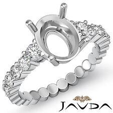 Diamond Engagement Oval Semi Mount Shared Prong Set Ring 14k White Gold 0.70Ct