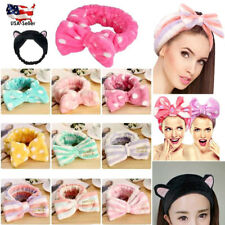 Facial Wash Face Bath Shower Makeup Spa Big Bow Cat Ear Hair Headband Soft Towel