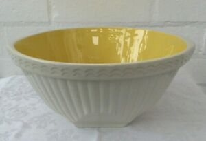 """Vintage Easimix Large Mixing Bowl T G Green & Co yellow 10.5"""" or 12"""" inc handles"""