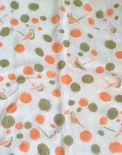 Vintage Sm Silk Scarf Hankie Birds & Abstract Musical Notes Orange Avocado 1970s