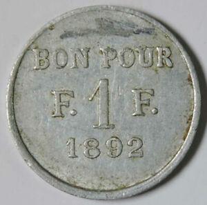 EGYPT  , SUEZ SOCIETE COOPERATIVE JETON TOKEN 1 FRANC 1892 ( SU-R2 ) , RARE