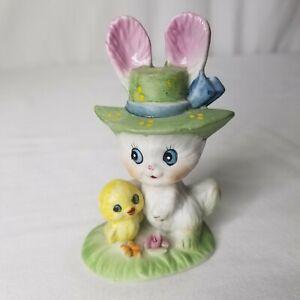 Vintage Lefton Easter Bunny Rabbit Porcelain Figure Chick Bonnet Spring Decor