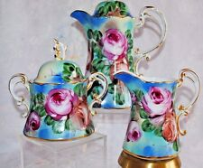 BEAUTIFUL VTG NIPPON HAND PAINTED FLORAL GOLD TEA COFFEE HOT CHOCOLATE SET 3pcs