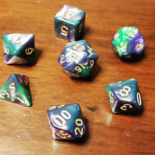 Blue-Green Pearl Dice Set Polyhedral DND Dungeons and Dragons Pathfinder