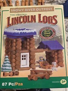 Lincoln Logs Snowy River Outpost Partial Set 77 PCS Original K'nex Wood Vintage