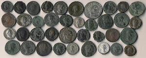 38 ANCIENT ROMAN COINS (COPPERS & SILVERS >> EXCELLENT LOT !!) NO RESERVE