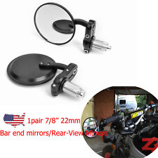 """Black Motorcycle 7/8"""" Bar End Rearview Side Mirrors Fit For Bobber Cafe Racer"""