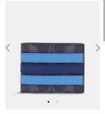 Coach - Slim Billfold Wallet In Signature Canvas With Varsity Stripe